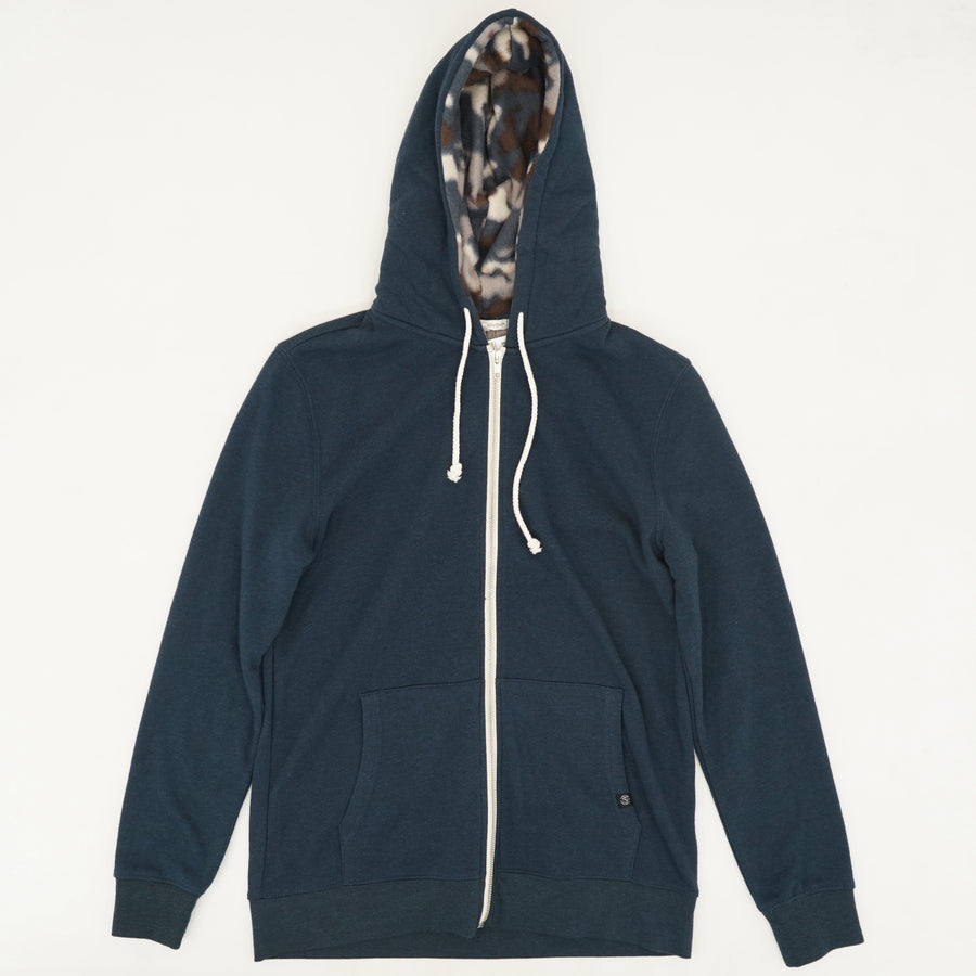 Navy Zip Up Jacket With Camo Lined Hood