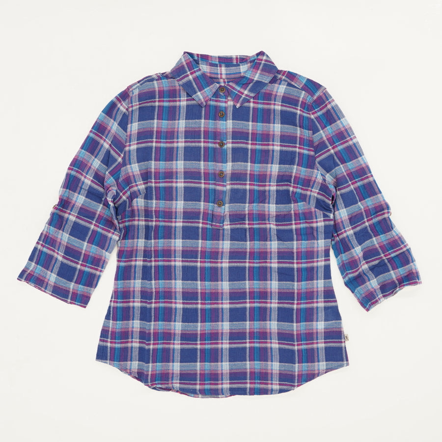 Oasis Plaid Popover Blouse Size S