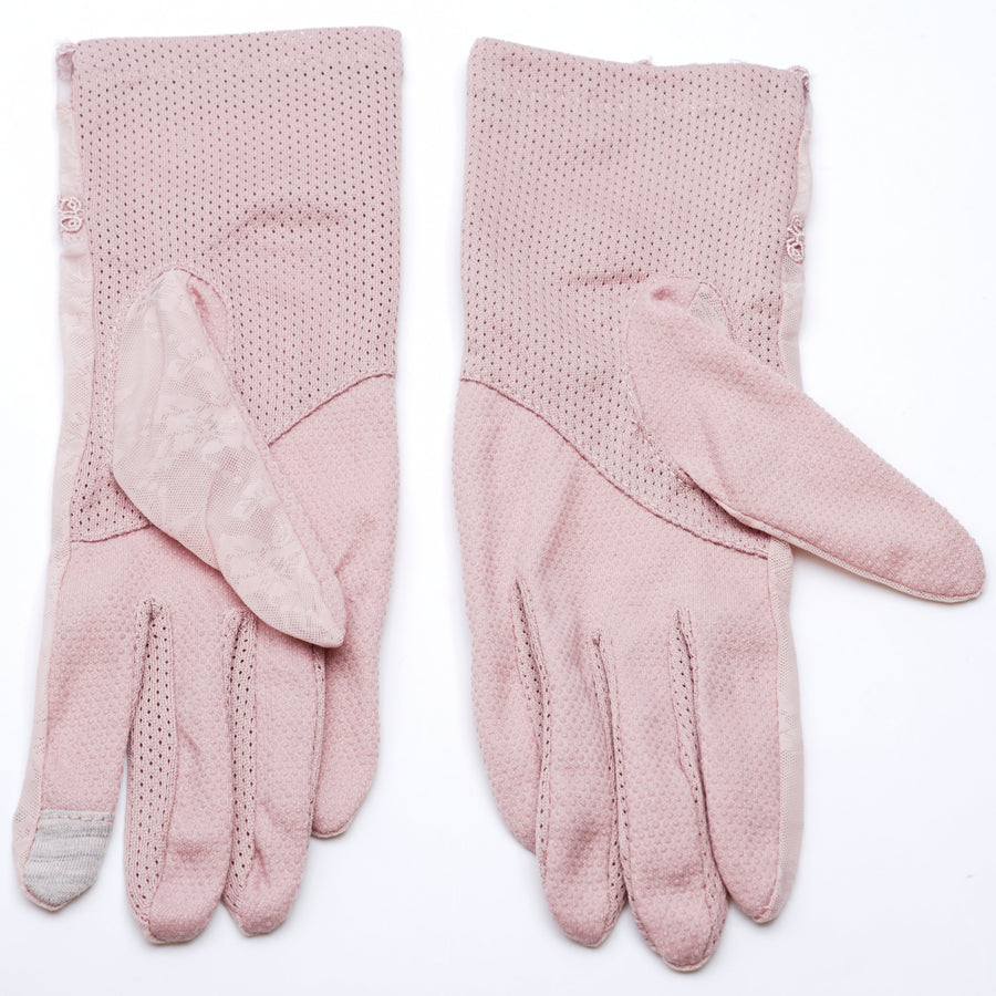 Pink Floral Lace Gloves
