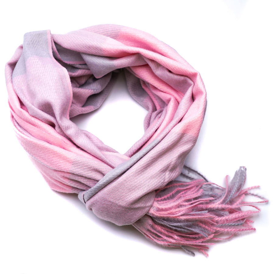 Pink Color Block Winter Scarf