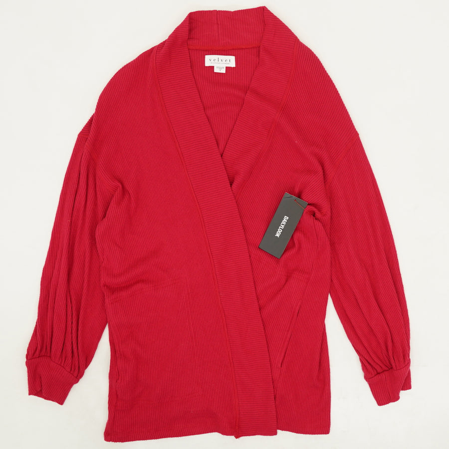 Red Ribbed Cardigan Size S