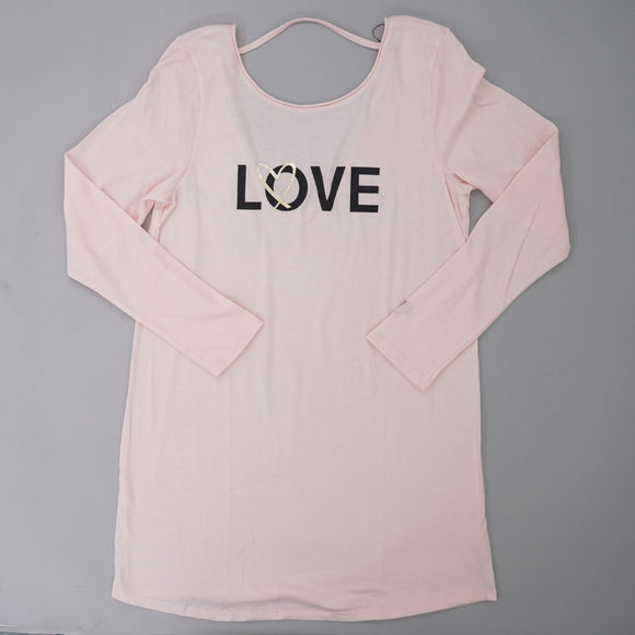 Love Long Sleeve Open Back Sleep Shirt Size M