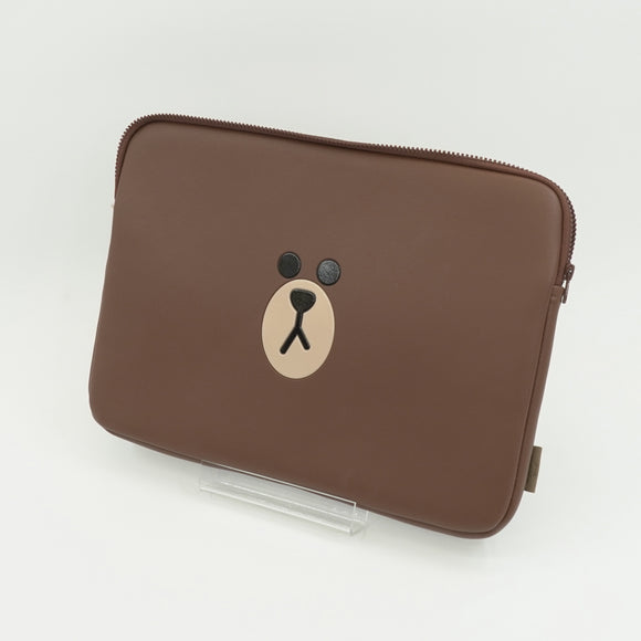 Brown Faux Leather 15 Inch Tablet Sleeve