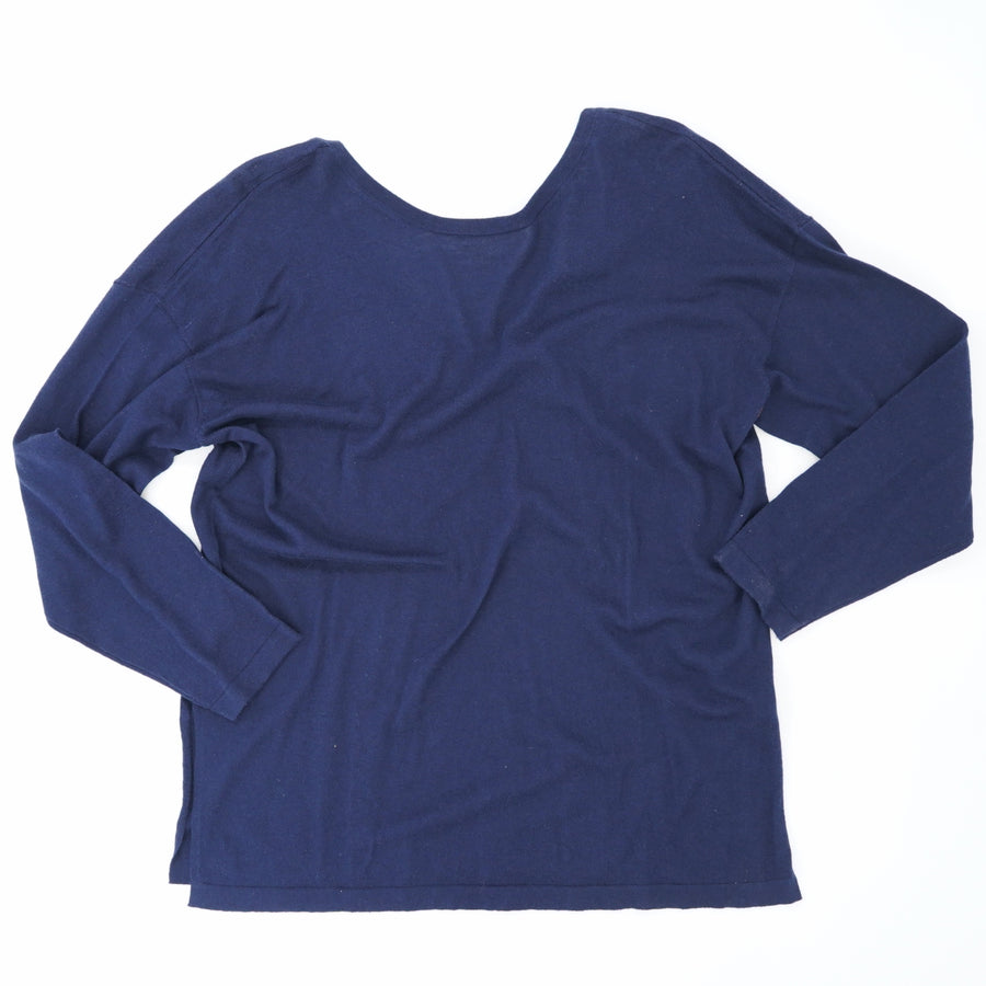 Vee-Black Long-Sleeve Blouse Size M