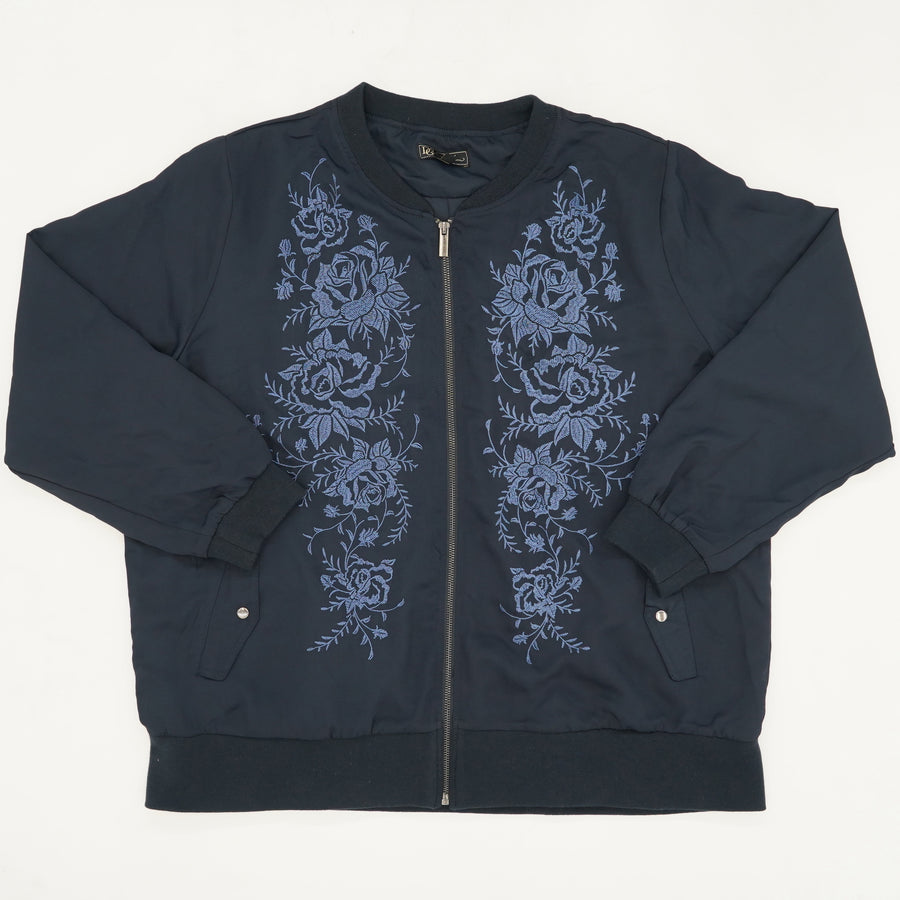 Navy Embroidered Floral Bomber Jacket Size XL