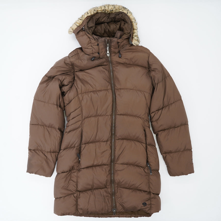 Brown Mid-Length Down Parka Size S
