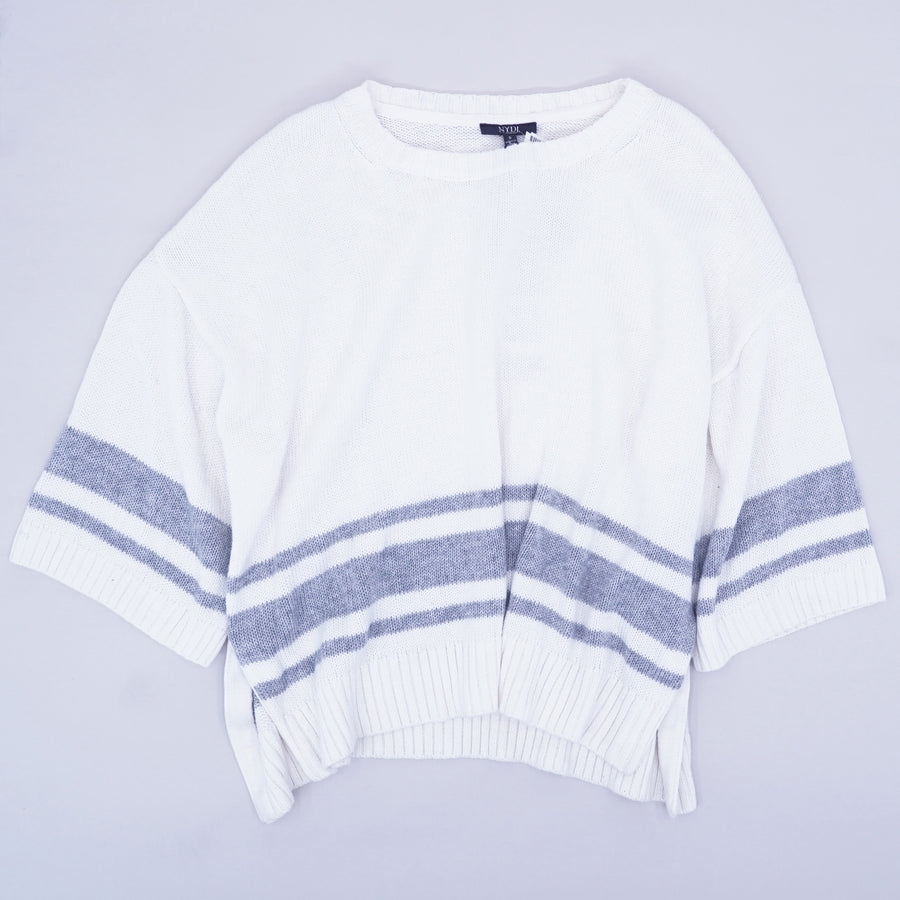 Gray & White Oversized Sweater - Size S