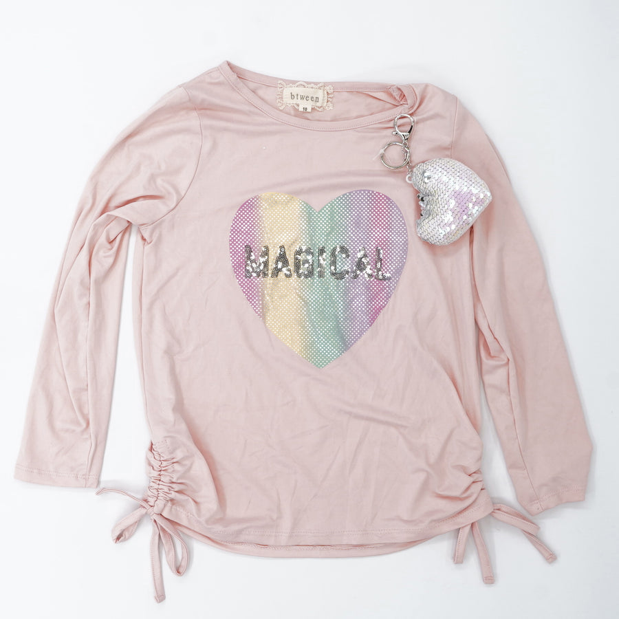 "Pink ""Magical"" Sequin Top - Size 10"