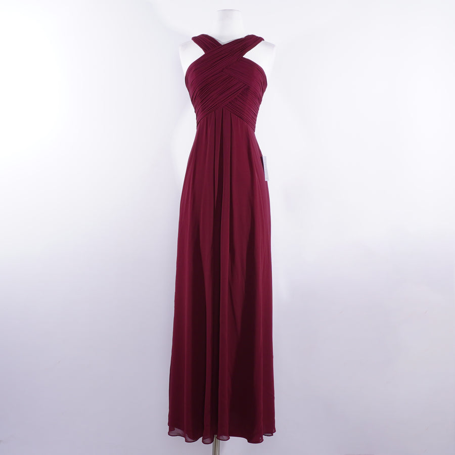 Wine Halter Chiffon Top Bridesmaid Dress - Size 0