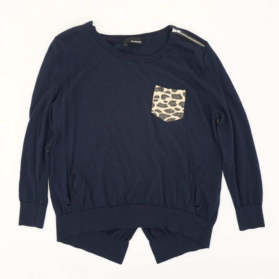 Leopard Pocket Navy Sweater Size L