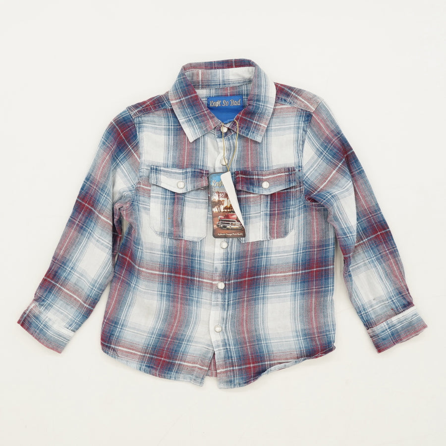 Blue Plaid Button Down Shirt Size 3