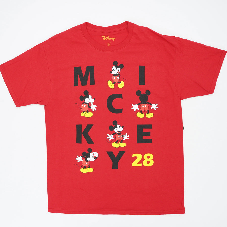Adult Unisex Tee Big Mickey Name, Red Size L