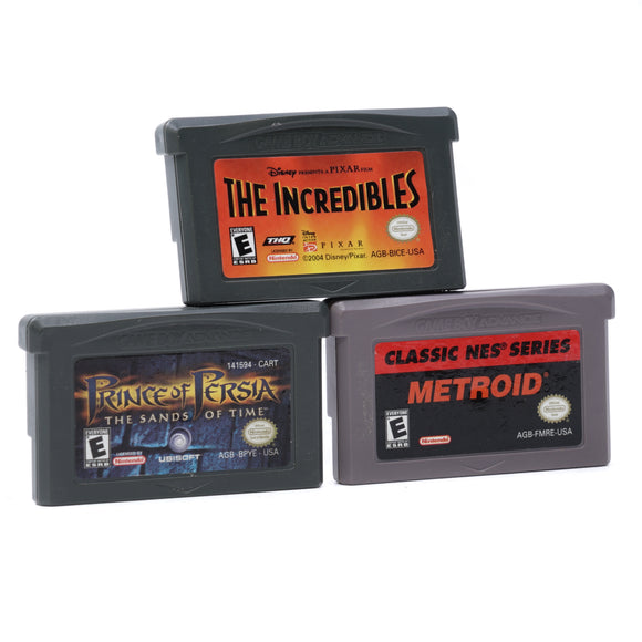 Game Boy Advance Game Bundle: Classic NES Series Metroid, Prince of Persia the Sands of Time, The Incredibles