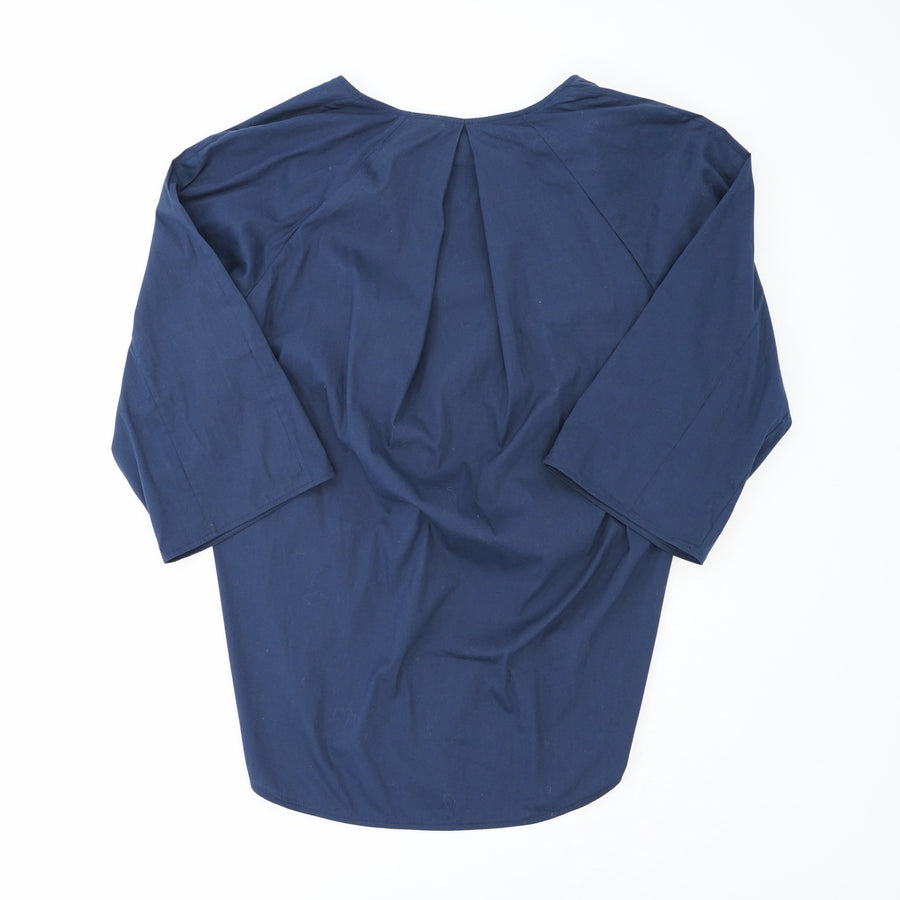 Navy High Low Zip Front Blouse Size S
