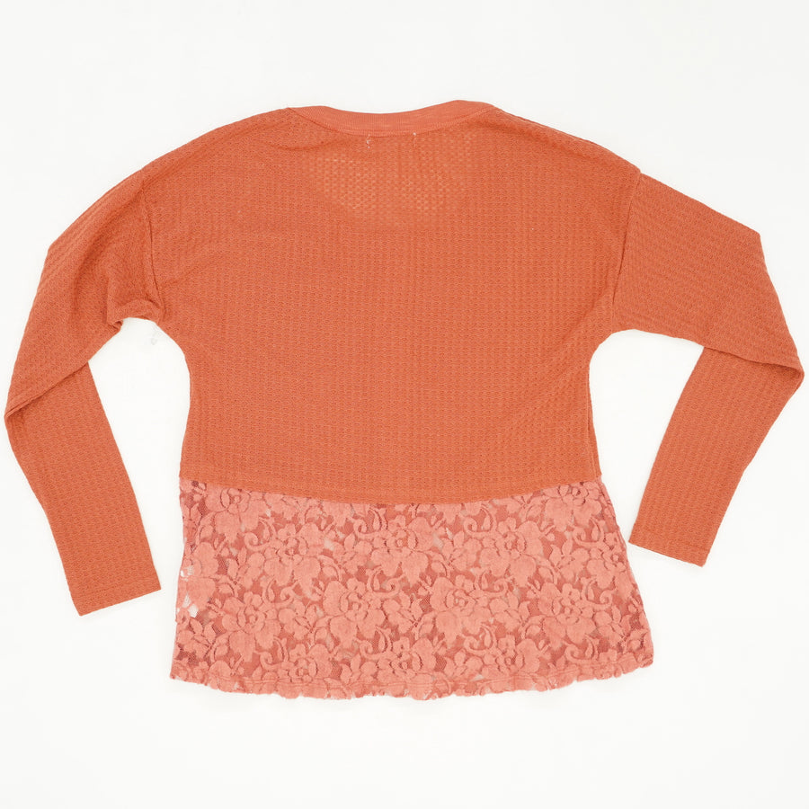 Waffle and Lace Contrast Blouse Size S