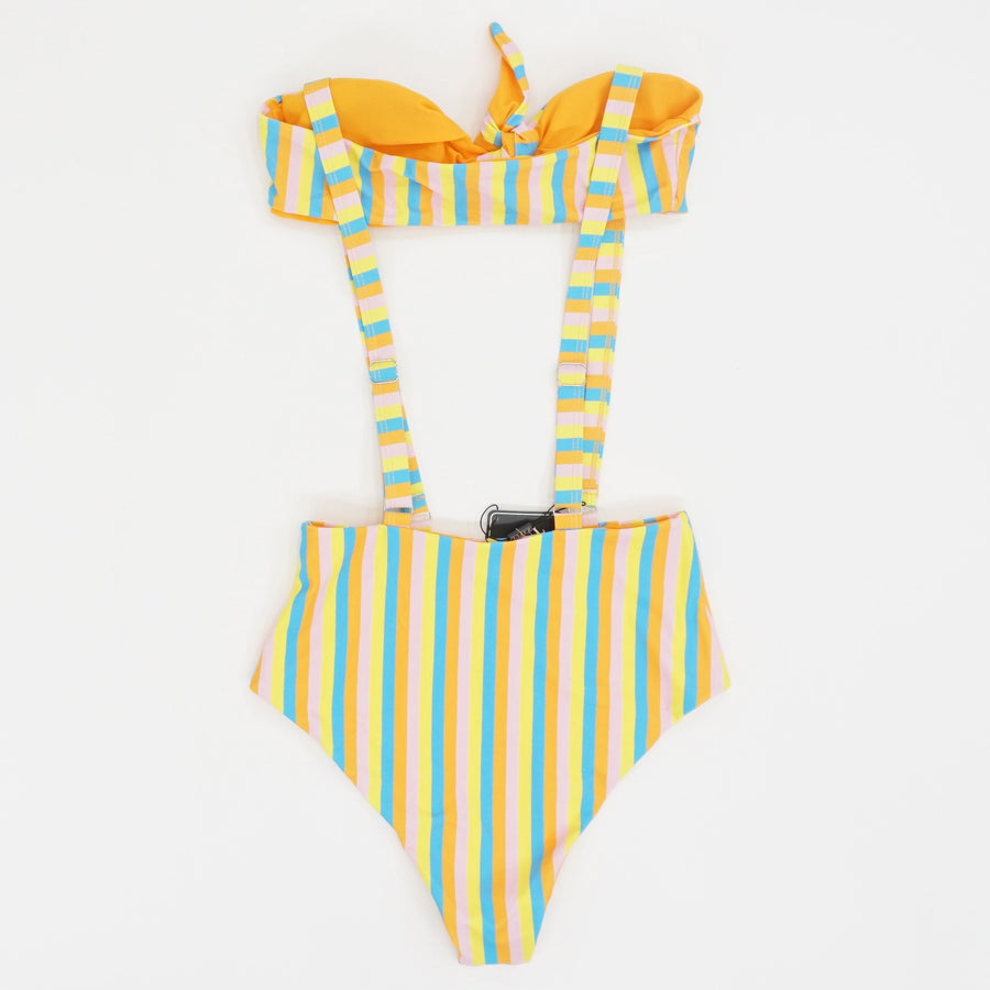 Striped Suspender Swimsuit - Size M