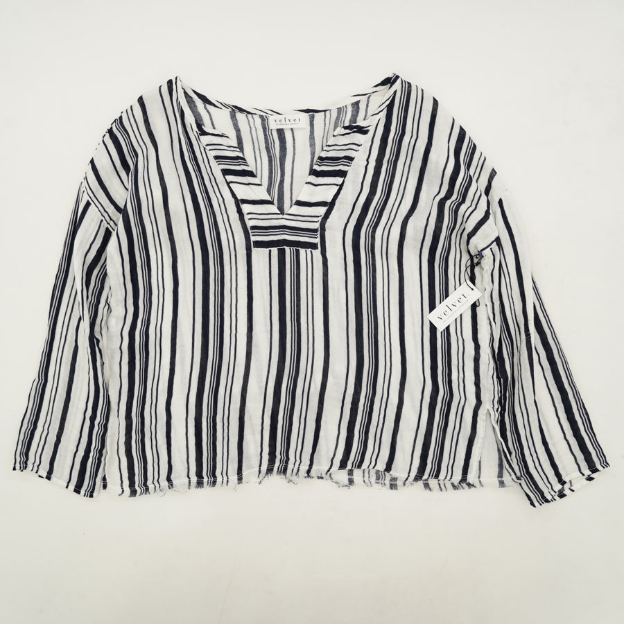 Striped Long Sleeve V-Neck Blouse Size S
