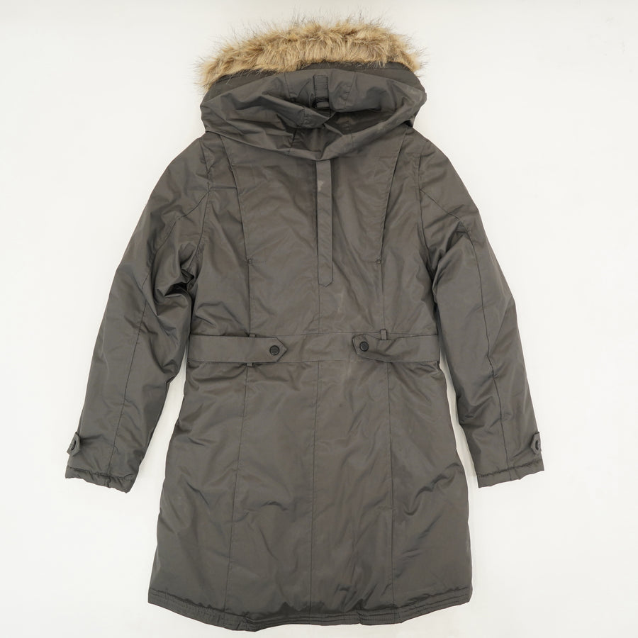 Gray Weatherproof Jacket With Removable Fur Hood