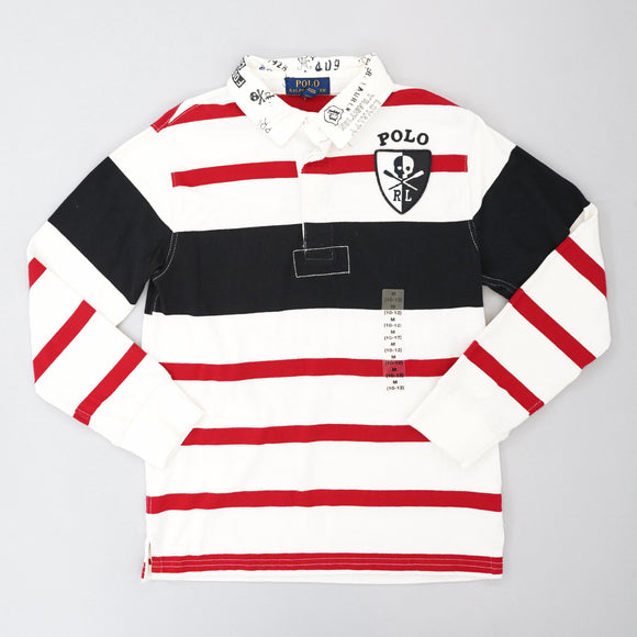 Chic Cream Striped Rugby Shirt Size 10-12