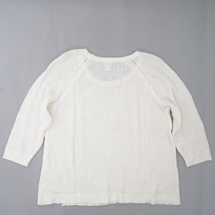 White Tight Knit Sweater Size 1X