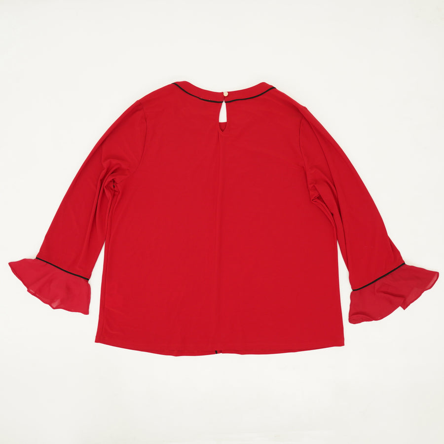 Red Ruffle Sleeve Blouse Size XL