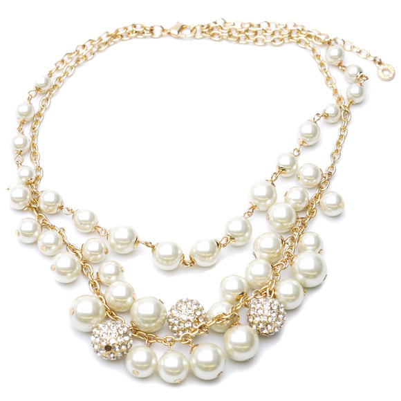 Gold-Tone Multi-Strand With White Beads Necklace