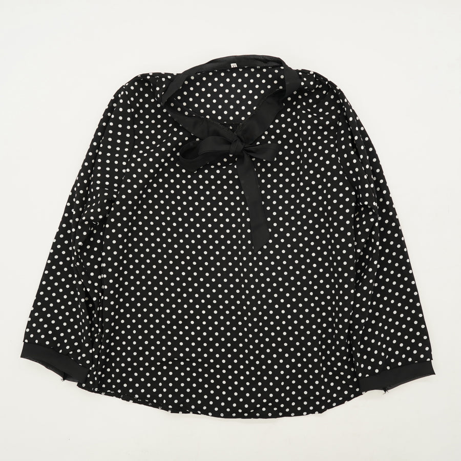 Black Polka Dot Long Sleeve Blouse Size M/L