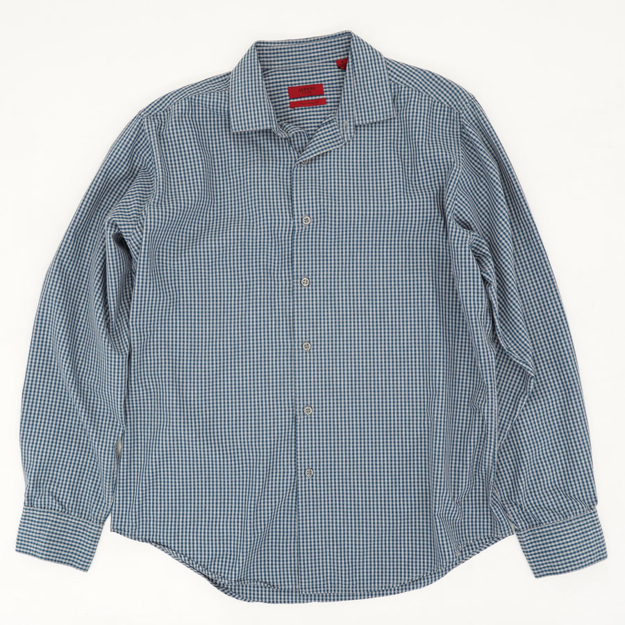 Blue Checked Performance Long Sleeve Size 34/35