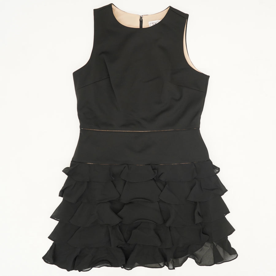 Ruffled Black Dress Size 12