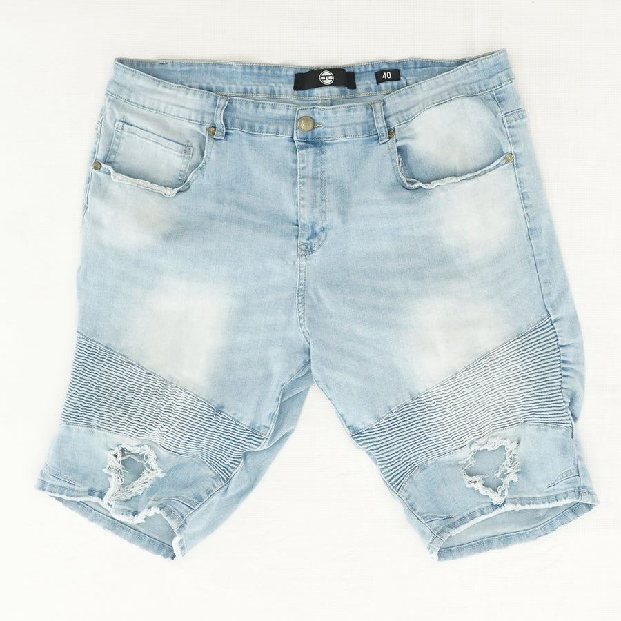 Light Wash Distressed Denim Shorts - Size 40