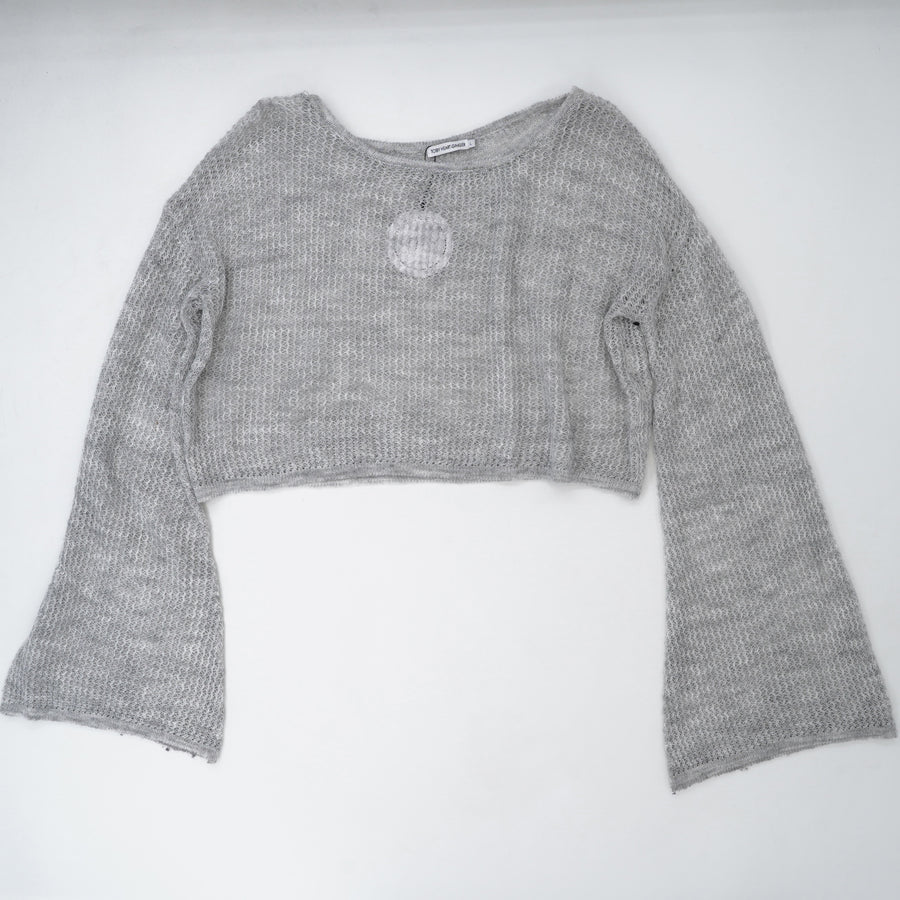 Loose Knit Cropped Sweater Size L