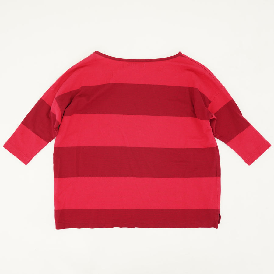 Striped 3/4 Sleeve Logo Sweater Size S