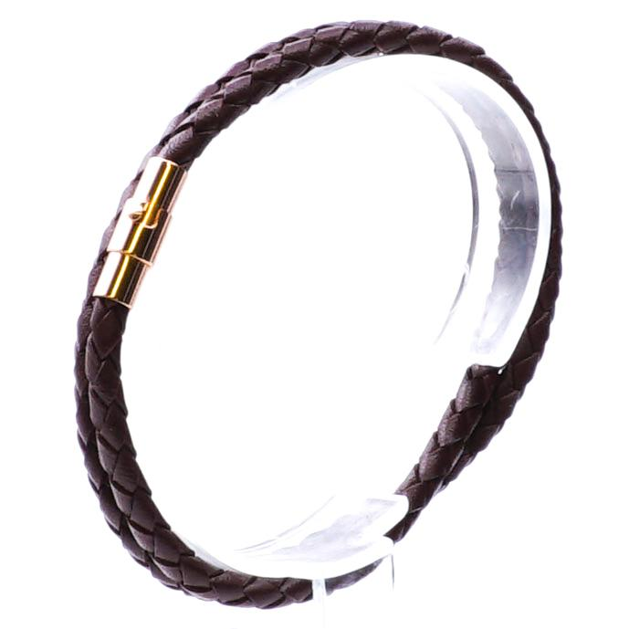 Brown Leather Bracelet Gold Clasp