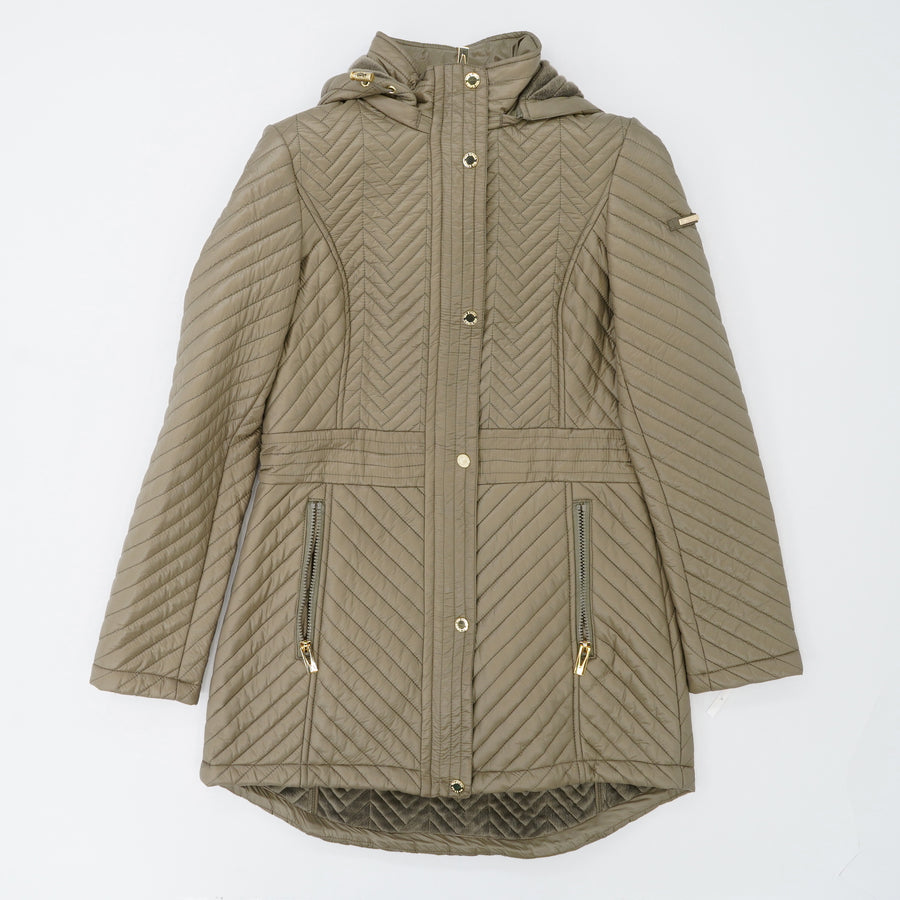 Quilted Fur-Lined Hooded Jacket Size XS