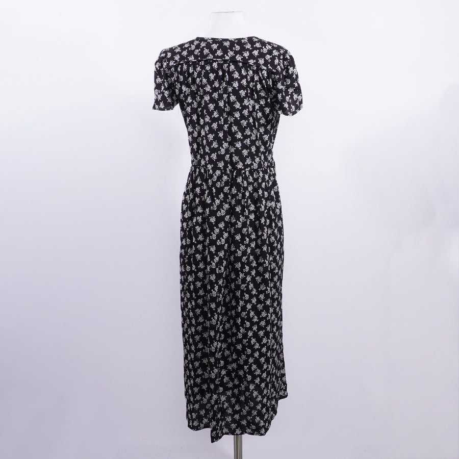 Black Floral Maxi Dress - Size XS