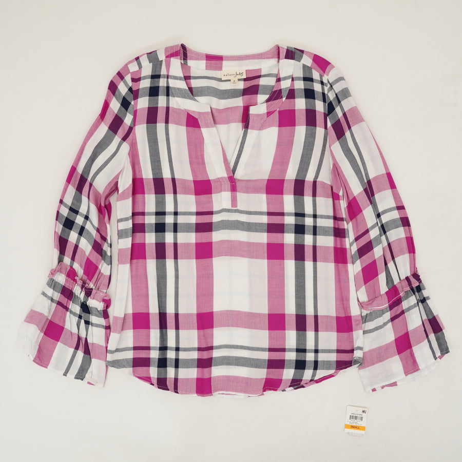 Sheer Plaid Long Sleeve Top Size S