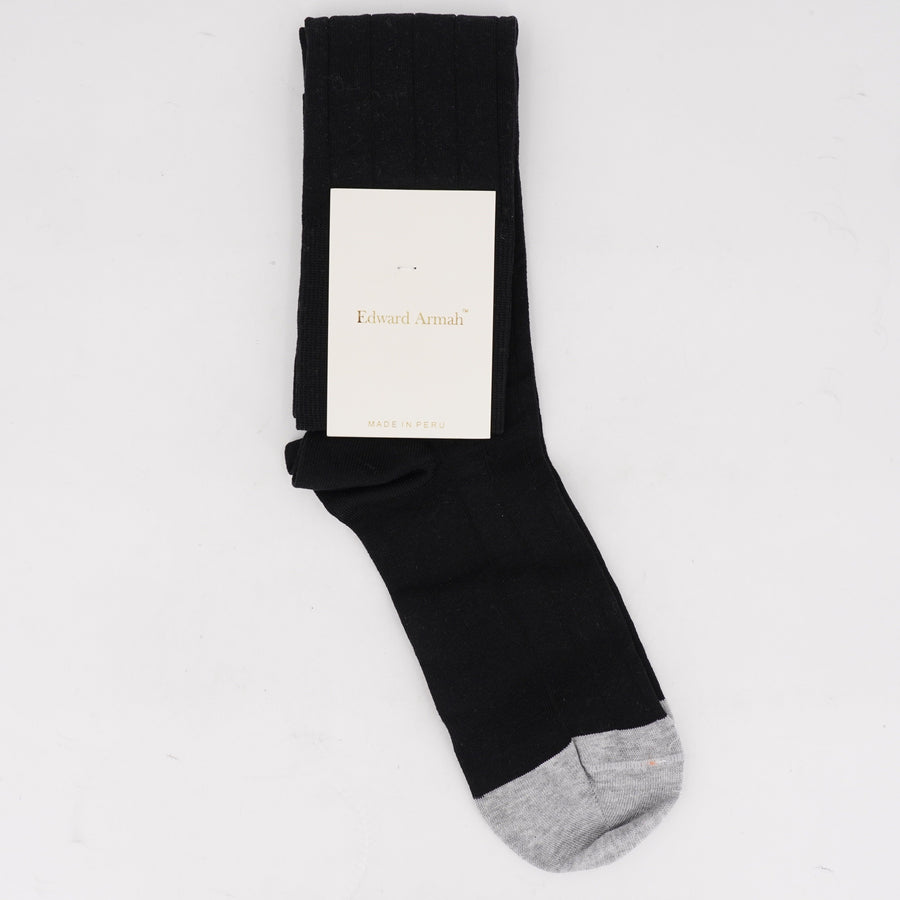 Over the Calf Socks Black with Gray Toes