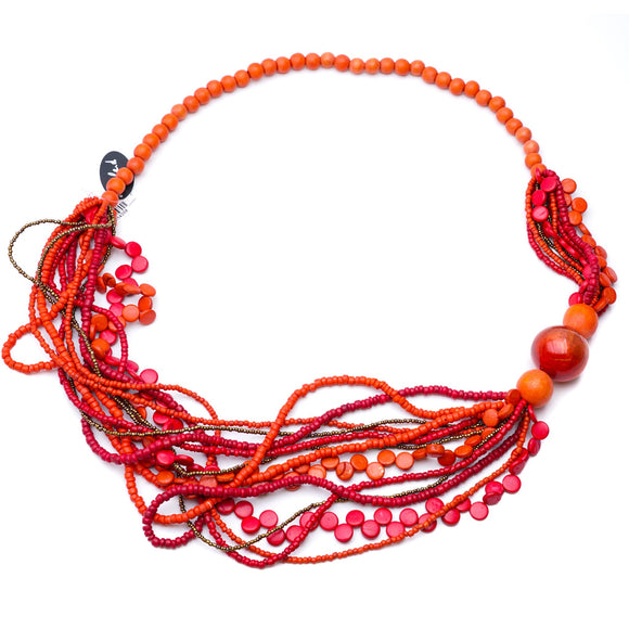 Orange And Red Beaded Statement Necklace