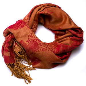 Red & Tan Floral Print Scarf