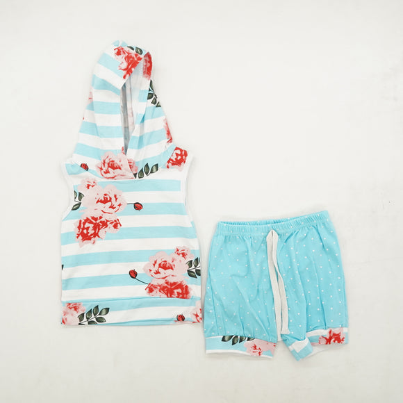 Striped Floral Hooded Tank and Short Set Size S