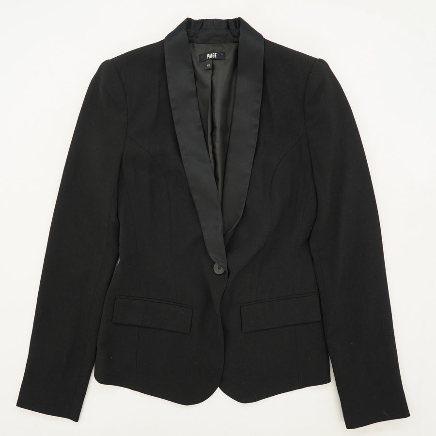 Black One Button Blazer Size XS