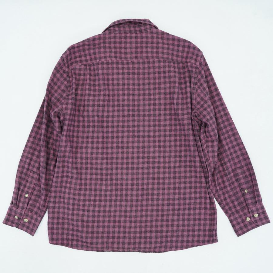 Maroon Gingham Flannel - Size L