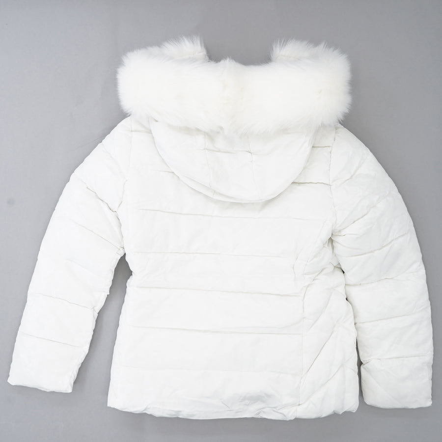 White Fur Hooded Puffer Jacket - Size M