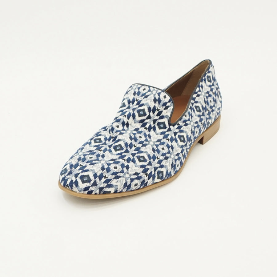 Blue & White Patterned Loafers - Size 12