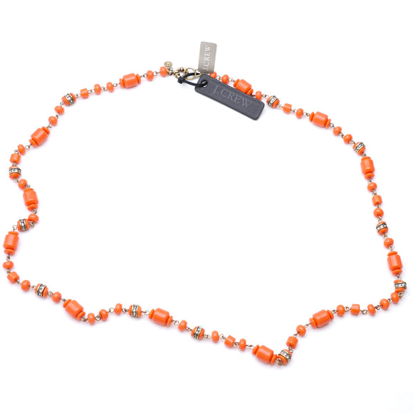 Gold Toned Necklace With Orange Beads