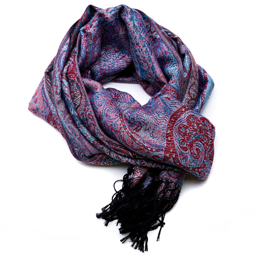 Red & Blue Paisley Print Scarf