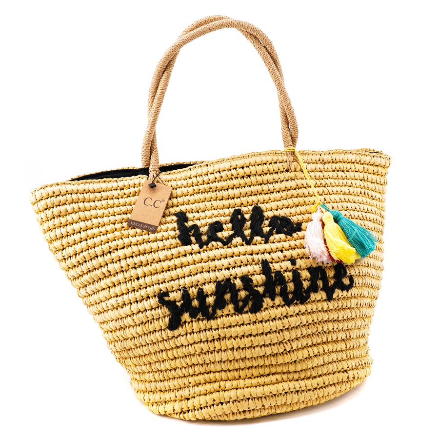 """Hello Sunshine"" Embroidered Beach Tote"