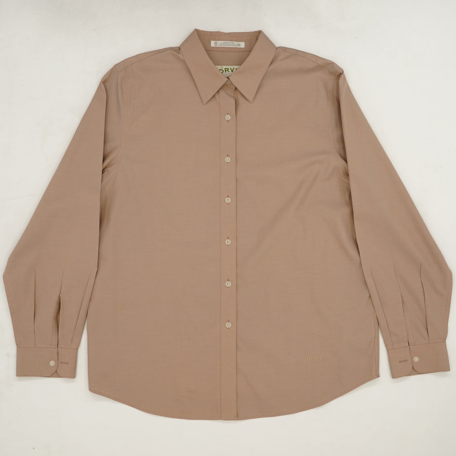 Tan Long Sleeve Button-Up Shirt - Size 14