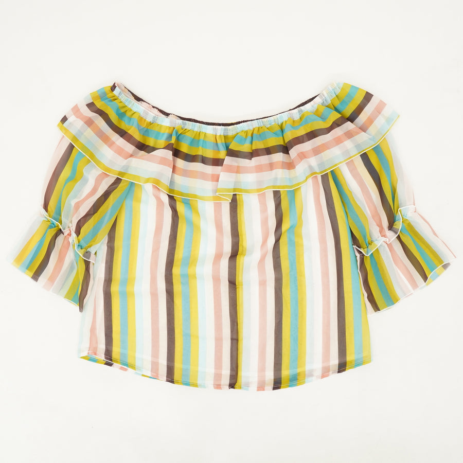 Striped 3/4 Sleeve Blouse - Size M