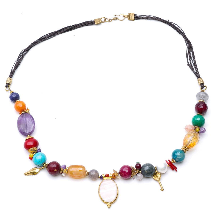 Multi Colored Stone And Gold Toned Charms Necklace